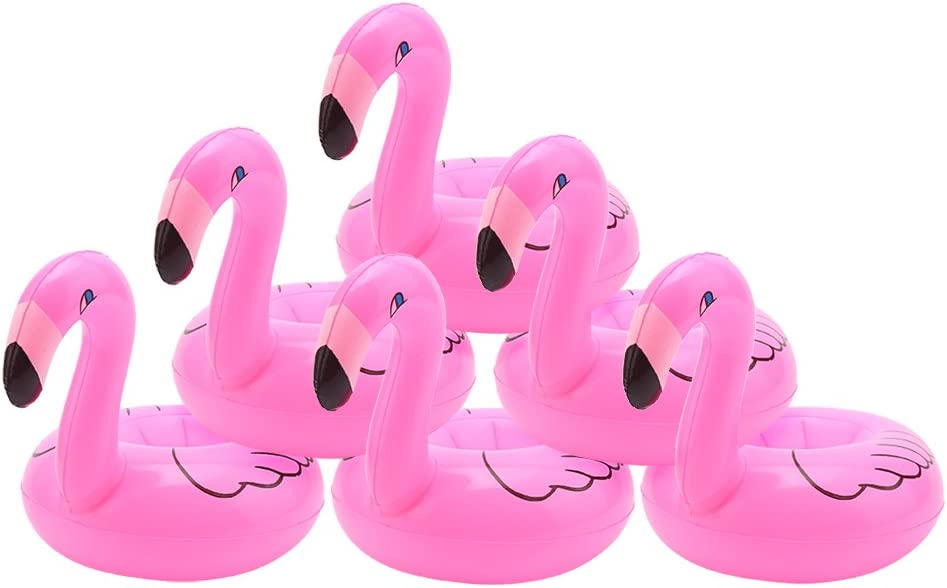 DERAYEE Inflatable Flamingo Float Drink Holder, 12 Pack Swimming Pool Flamingo Party Supplies Cup Coasters for Beverage Cans for Adults