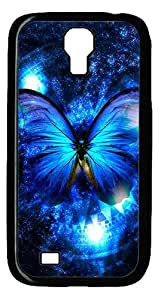 Rugged Samsung Galaxy S4 Case,Lady And The Butterfly Polycarbonate PC Plastic Hard Case Cover for Samsung Galaxy S4 Black