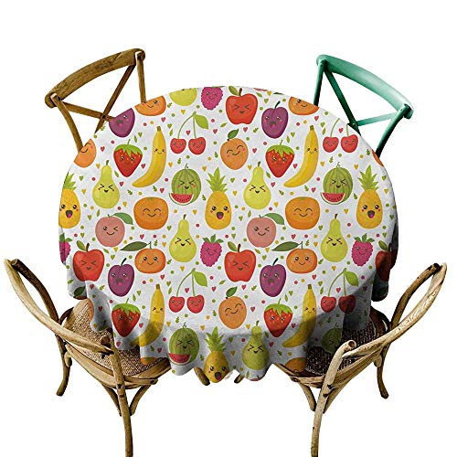 (Zzmdear Elegance Engineered Tablecloth Fruits Smiling Banana Funny Mulberry Happy Apricot Peach Hearts Lemons Kids Nursery Theme Waterproof/Oil-Proof/Spill-Proof Tabletop Protector D47 Multicolor)