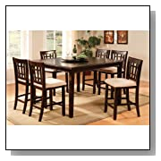 Inland Empire Furniture Central Park III Dark Cherry Solid Wood 7 Piece Square Counter Height Dining Set with Lazy Susan