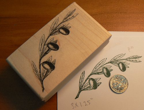 Branch Holiday Cards - Olive Branch rubber stamp WM P11