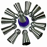 Russian Ball Tips Piping set - 14 pc Sphere Icing Nozzles for Buttercream Frosting and Icing - Great for Decorating Cakes Cupcakes and Fondant by BENTRIST
