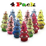 QingQiu Christmas Tree Slime, 4 Pack Colorful Clear Crystal Slime Putty with Slice for Kids Stocking Stuffers Party Favors