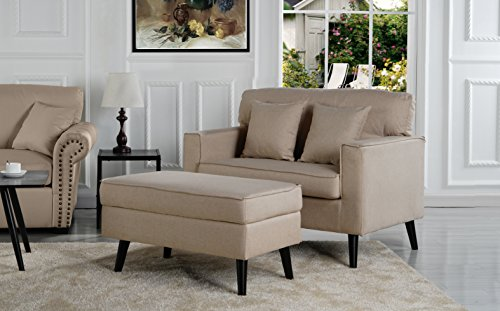 Sofamania Mid-Century Modern Living Room Large Accent Chair with Footrest/Storage Ottoman (Beige)