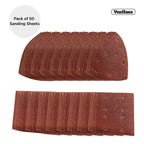 VonHaus Pack of 50 Sanding Sheets Only Compatible with the VonHaus 2 in 1 Sheet & Detail Sander 15/171US