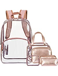 6 in 1 Clear Backpack with Cosmetic Bag & Case, Clear Transparent PVC School Backpack Outdoor Bookbag Portable Travel Toiletry Bag Makeup Quart Luggage Organizer (Rose Gold)
