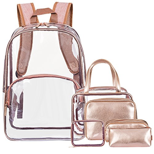 Price comparison product image NiceEbag 6 in 1 Clear Backpack with Cosmetic Bag & Case, Clear Transparent PVC School Backpack Outdoor Bookbag Portable Travel Toiletry Bag Makeup Quart Luggage Organizer (Rose Gold)