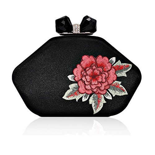 Flower Embroidery Womens Rhinestone Womens Snap Embroidery Evening Bag Flower Damara Damara Black qEfEAC