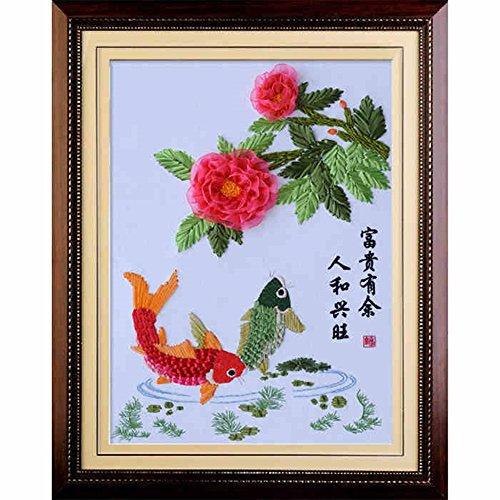 Silk Ribbon Embroidery Kit Handmade for Beginner Oriental Wall Hanging Art Asian Decoration (No frame)