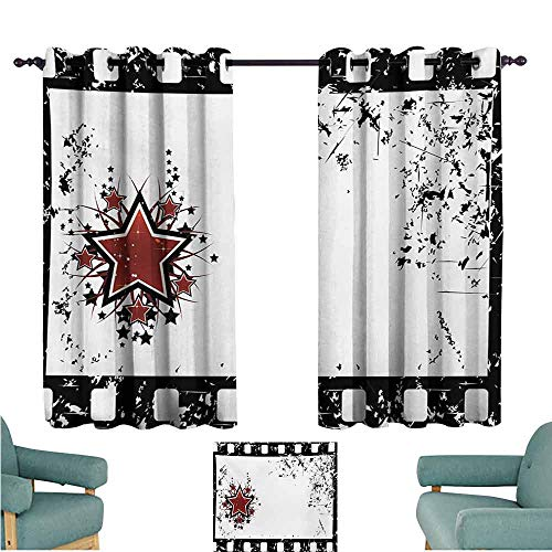 DONEECKL Decorative Curtains for Living Room Movie Theater Grungy Illustration of Film Strip with Ornamental Stars Cinematography Light Blocking Drapes with Liner W55 xL39 Black White Ruby