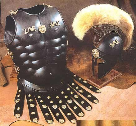 Halloween Costume Collectible Greek Roman Muscle Armor with Black Corinthian Helmet