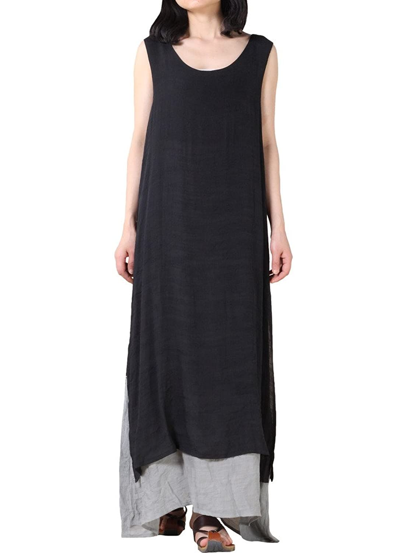 Vogstyle Damen Doppel Layered Sommer Maxi Kleid