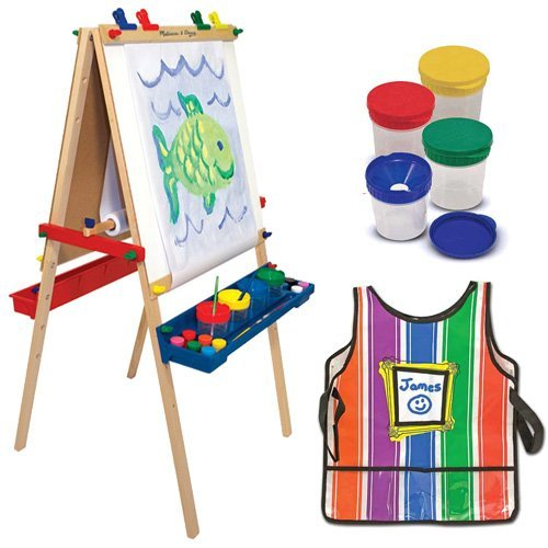Melissa & Doug Deluxe Standing Easel with Artist's Smock and Spill Proof Paint Cups ()