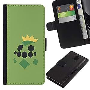 NEECELL GIFT forCITY // Billetera de cuero Caso Cubierta de protección Carcasa / Leather Wallet Case for Samsung Galaxy Note 3 III // Grean Tortuga de Poke Monster