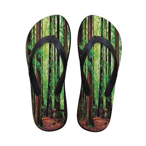 (Woodland Decor Non Slip Flip Flops,Redwood Trees Northwest Rain Forest Tropic Scenic Wild Nature Lush Branch for Shower Spa Party,US Size 9)