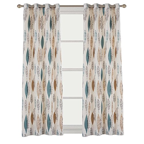 Contemporary Print Floral Blackout Lined Curtain Panel Drapes Nickle Grommet 52Wx72L Inch (1 Panel) For Bedroom | Living Room | Club | Hotel | Restaurant