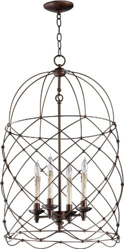Cyan Design 04756 Bird Cage Collection Adele 4-Light Foyer Pendant, Oiled Bronze Finish