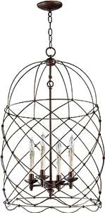 Cyan Design 04756 Bird Cage Collection Adele 4-Light Foyer Pendant, Oiled Bronze Finish