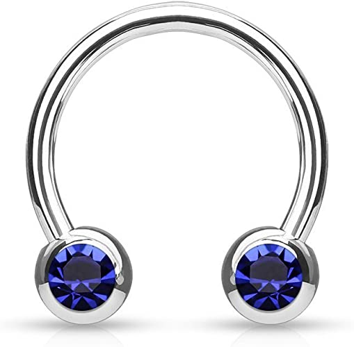 Covet Jewelry 316L Surgical Stainless Steel Horseshoe with Solid Acrylic Balls