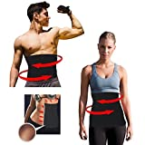 Waist Trimmer Sweat Fat Cellulite Burner Body Leg Slimming Shaper Exercise Wrap Belt For Women & Men 39.37inch X7.84inch (Black)