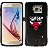 Chicago Bulls - White Text Logo design on Black OtterBox Commuter Series Case for Samsung Galaxy S6