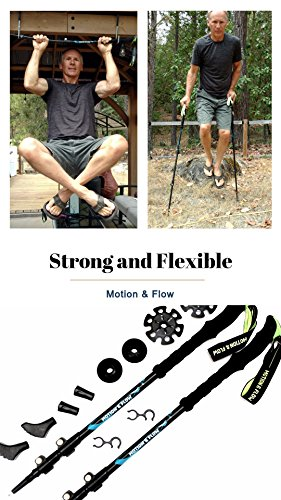 Motion & Flow Premium Light Weight Trekking Poles/Collapsible Hiking Poles/for Women/Men / Hiking/Trekking with Sweat Absorbing Natural Cork Grips, Quick Lock Adjustment, All Terrain Accessories.