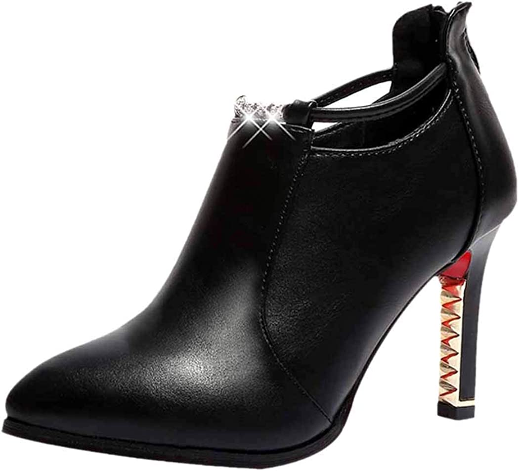 Inkach Point Toe Ankle Booties Rhinestone Womens Thin High Heels Pumps Shoes Back Zipper Martin Boots Black