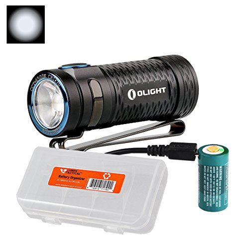 Switch Mini Series Battery (Olight S1 Mini Baton 600 Lumens Ultra Compact Rechargeable LED Flashlight with LumenTac Battery Organizer (Cool White))
