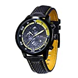 KOSSFER Pro Diver Analog Display Swiss Quartz Black Watch Men's Quartz Watch with Leather Band Unique Business Dress Analog Watches Large Casual Luminous Hands Waterproof Wrist Watch Yellow