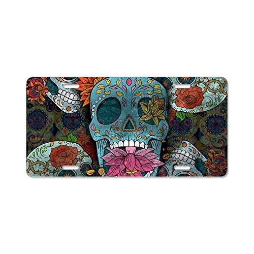 Dead Front Plate (CafePress - Sugar Skulls Design - Aluminum License Plate, Front License Plate, Vanity Tag)