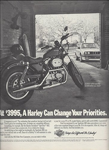 MAGAZINE AD For 1988 Harley Davidson Sportster 883 Motorcycle Can Change You