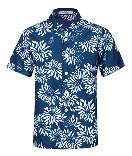 - Men's Hawaiian Shirt Short Sleeve Aloha Shirt Beach Party Flower Shirt Holiday Print Casual Shirts Blue EHS019-S