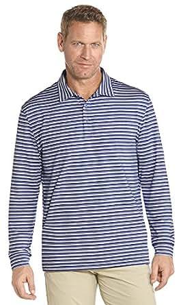 Coolibar upf 50 men 39 s long sleeve golf polo for Sun protection golf shirts