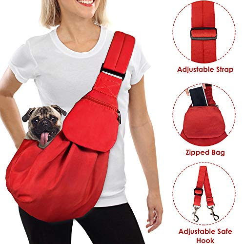 - AutoWT Dog Padded Papoose Sling, Small Pet Sling Carrier Hands Free Carry Adjustable Shoulder Strap Reversible Outdoor Tote Bag with a Pocket Safety Belt Dog Cat Carrying Traveling Subway (Red)