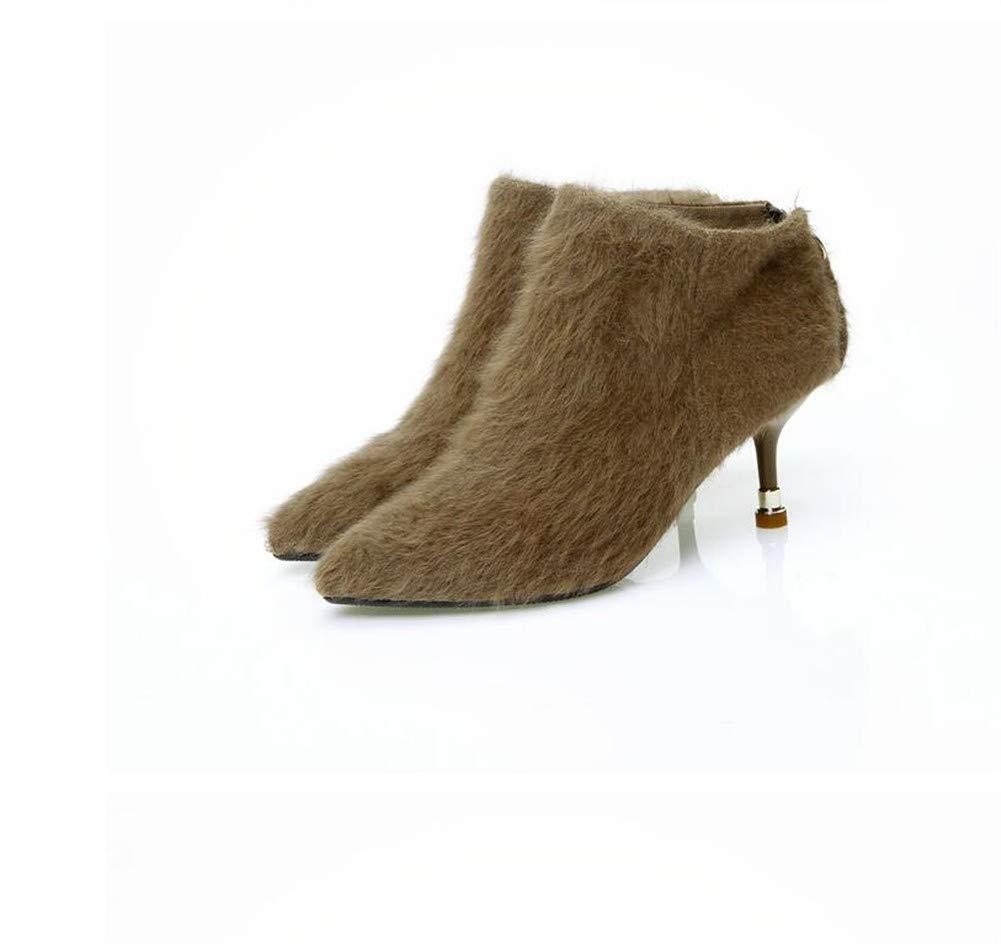 ... MHCDXGN Hochhackige Stiefel Temperament Weibliche Temperament Stiefel  Europäischen Und Amerikanischen Mode Plüsch Nackten Stiefel Herbst Und ... 12b56a79cc