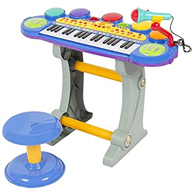 Best Choice Products Musical Kids Electronic Keyboard 37 Key Piano W/ Microphone, Synthesizer, Stool, Records and Playbacks Music Blue by Best Choice Products
