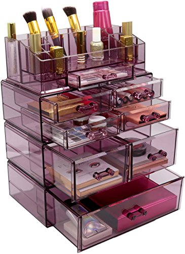 Sorbus Acrylic Cosmetics Makeup and Jewelry Storage Case Display Sets - Interlocking Drawers to Create Your Own Specially Designed Makeup Counter - Stackable and Interchangeable (Purple)