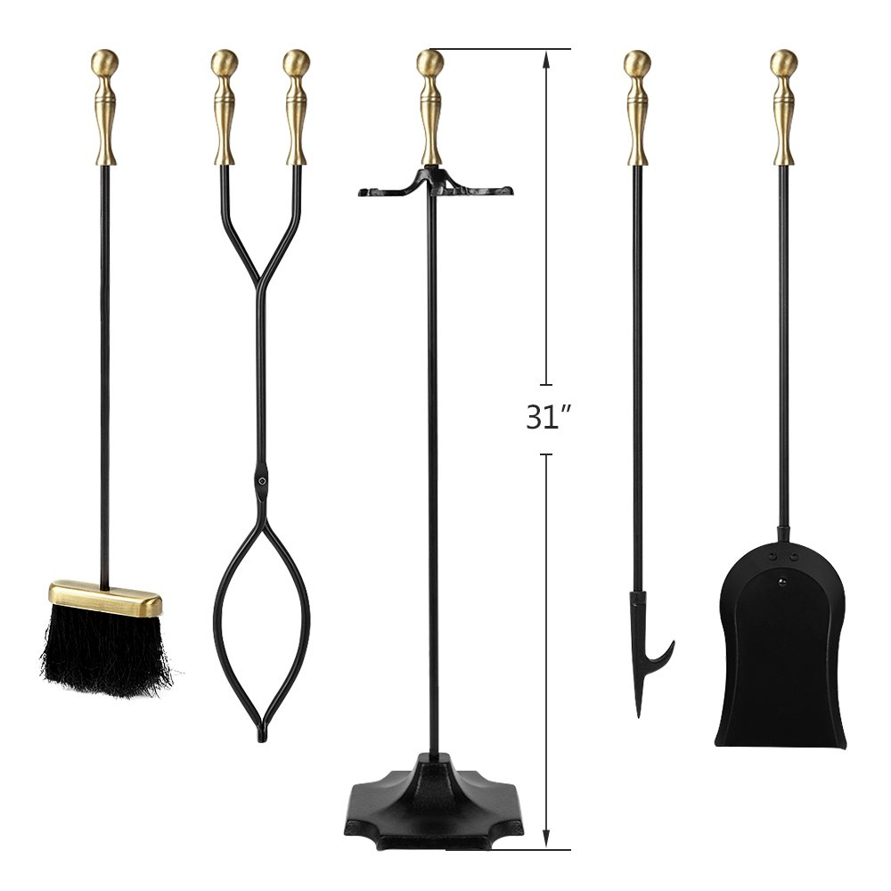 amazon com 5 pieces fireplace tools sets brass handles wrought