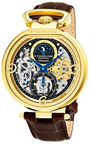 Stührling Original Mens Yellow Gold Tone Skeleton Watch - Silver Dial with Black and Gold and Blue Accents - Brown Leather Band with Deployant Clasp - AM/PM Sun Moon Indicator, (Automatic Brown Dial Watch)