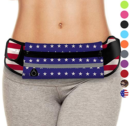USA Flag Fanny Pack : Best Merica US Waist Pack Running Belts for Country United States of America. 4th of July Day Patriotic American Gear for Running, Partying, Festivals, Travelling (American Flag)