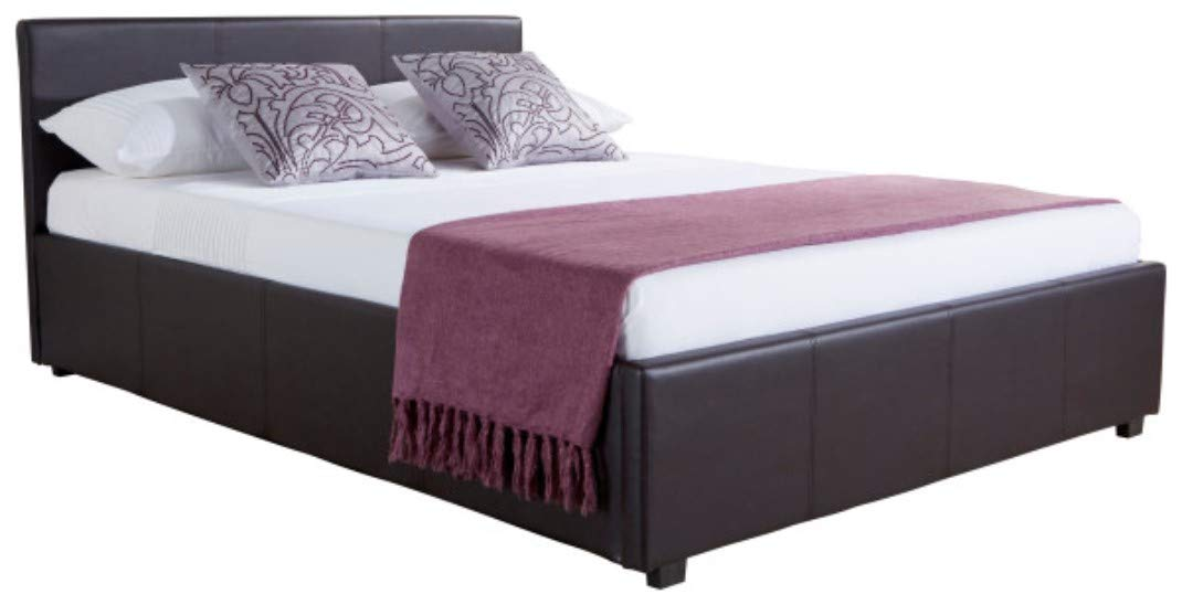 Home Source Classic Faux Leather Side Lift 4FT6 Double Ottoman Storage Beds in Brown