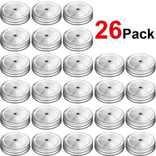 Mason Jar Lid With Straw (26 Packs Stainless Steel Regular Mouth Mason Silver Jar Lids with Straw Hole Compatible with Mason)