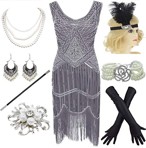 1920s Gatsby Sequin Fringed Paisley Flapper Dress with 20s Accessories Set (XXXL, Grey) -