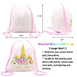 Gold Unicorn Party Drawstring Backpacks Gifts Bags Birthday Party Favor Bag for kids [Large Size] 8 Pack (L)