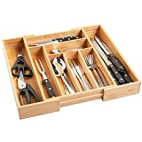 VonShef Bamboo Extending Cutlery Drawer Tray   6-8 Adjustable Compartments   Strong and Versatile