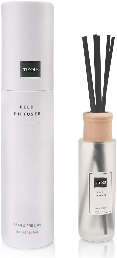 TIYOLE Pear Freesia Reed Diffuser Sticks Set, Long Lasting Reed Diffuser Oil Refill for Home Office Living Room Bathroom, Frosted Glass Bottle 5.1oz(150ml)