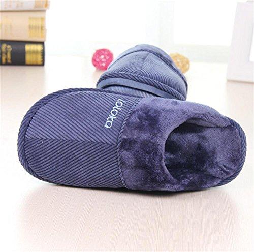 W&XY Zapatillas de algodón hombres Calentar Faux Forro de piel de felpa Antideslizante Otoño Invierno Zapatos de interior / al aire libre , 45 , blue 44