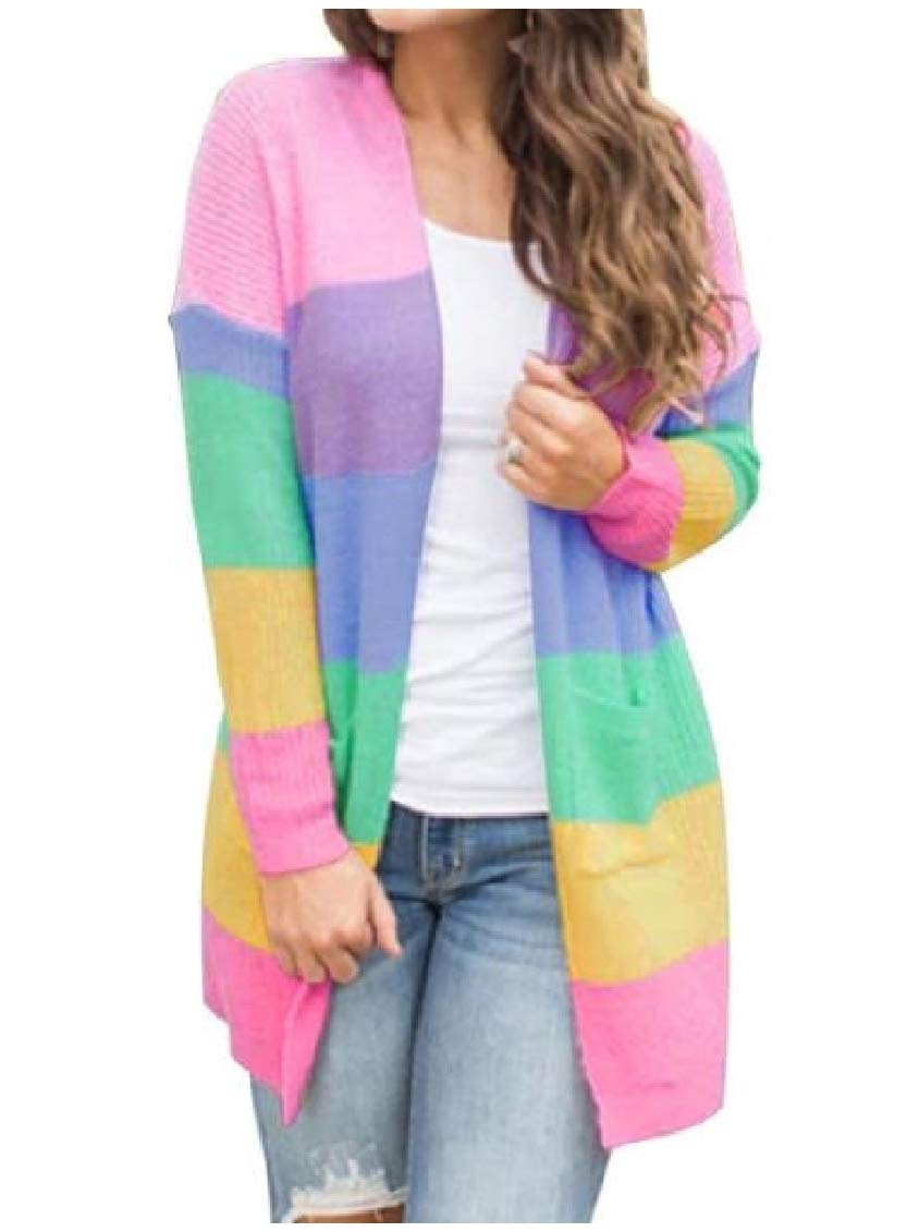 FieerWomen Cardigan Sweaters Assorted Colors Rainbow Knitting Blouses