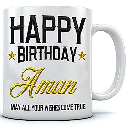 buy happy birthday aman name printed ceramic coffee mug 350 ml