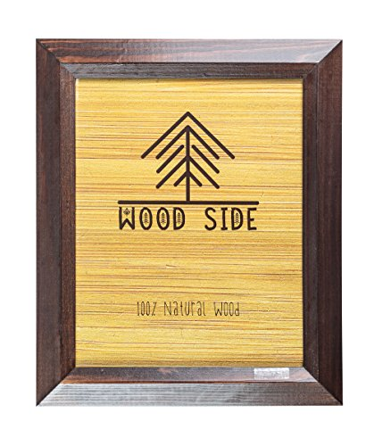 11x14 Wooden Picture Frame Brown - Rustic Frame Made of Solid Wood Finish Beveled Profile for Wall Mounting Photo ()